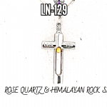 925 SILVER Rose Quartz & Himalayan CROSS  Pendant ..)